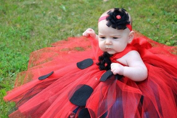 vestido tutu rojo mariquita con cintillo para talla recien