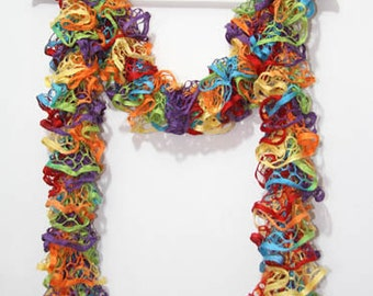 Rainbow Ruffle scarf curled hand knitted - IN SALE