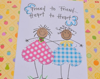African American Friend Greeting Card -Friend To Friend-Heart To Heart