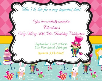 Alice in Wonderland or Mad Hatter Tea Party Invitation