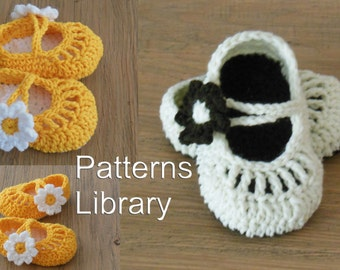 baby Crochet Mary Jane shoes pattern baby Girl flower shoes in 3 sizes