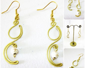 Brass Earrings, Brass Dangle Earrings with White Stones Beads, Fashion Designs, Thailand Handmade Jewelry.  JE1017-WH
