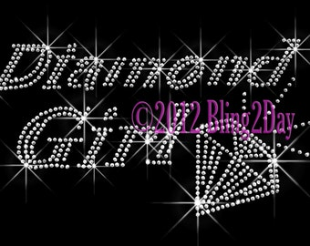 Diamond Girl - Iron on Rhinestone Transfer - Bling Hot Fix - DIY