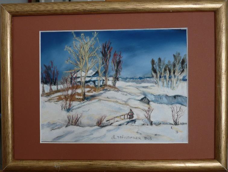 Sous la neige pastel peinture tableau la craie d 39 art - Peinture tableau craie ...