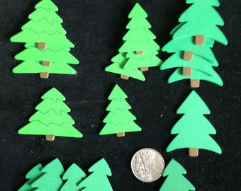 """Pre-holiday sale  18 pcs painted wood  evergreen trees, about 1/16"""" thick christmas trees, wood pine trees"""