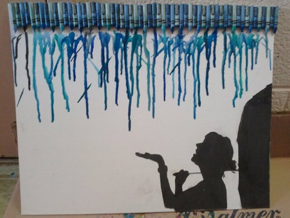 Melted Crayon Rain Falling Silhouette Canvas