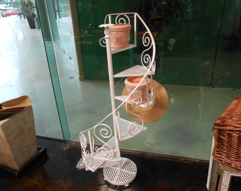 Little white stair, made of fine wrought iron, hand made, hand forged.