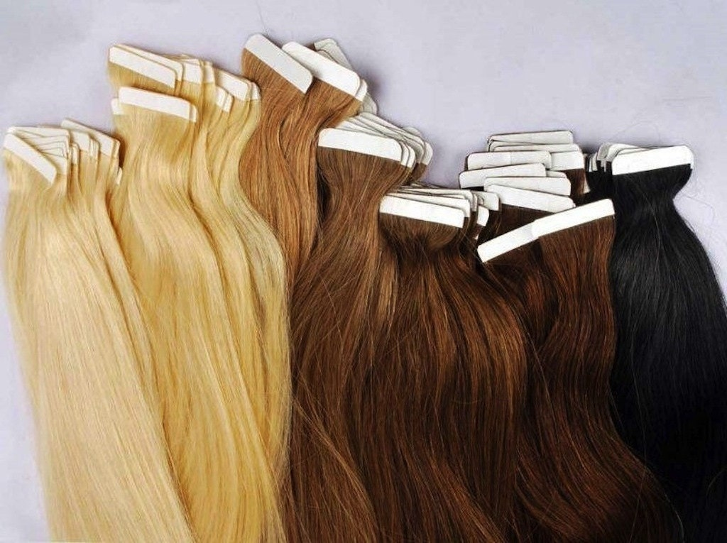 Image result for taped hair extensions