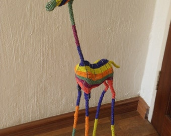 African Beaded Wire Animal Sculpture - GIRAFFE LARGE - Rainbow