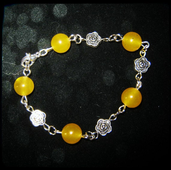 Handmade Silver Bracelet with Yellow Jade & Roses by IreneDesign2011