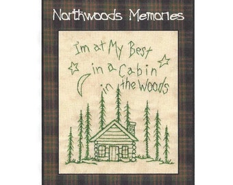 Northwoods Memories Cabin in the Woods- Redwork Hand Embroidery Pattern by Beth Ritter - Instant Digital Download