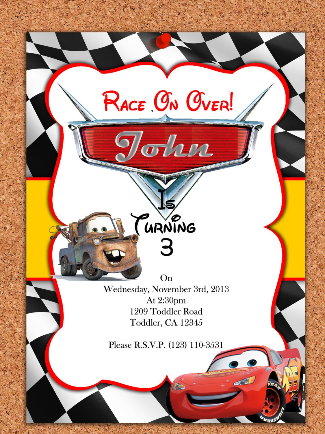 Disney Cars Invitation Free Download Cars Disney Free Download