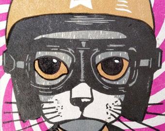 Helmet Cat Linocut Limited