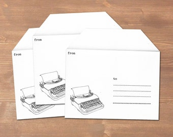 Old typewriter - 3 handmade envelopes // recycled paper