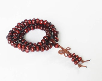Tibetan Maroon Red Wood 108 Beads Buddhist Buddhism Buddha Prayer Stretchy Mala Bracelet DI1004