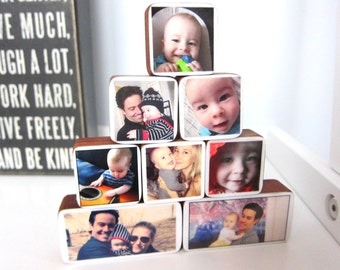 Personalized Baby Photo or Pregnancy Wooden Blocks great for nursery or baby shower gifts, 8 Variety Sizes