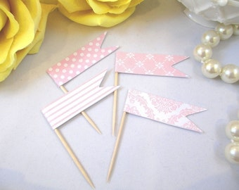 24 Pink and White Party Food Picks, Cupcake Flag Toppers, Flag Picks, Pink and White Wedding/ Bridal Shower/Baby Shower