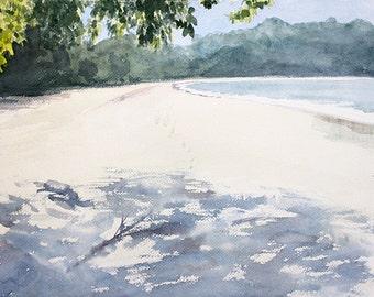Empty Beach and Shade orginal watercolor painting 16 x 12
