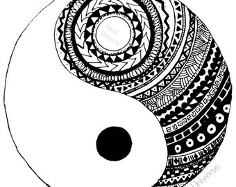 Cool yin yang coloring pages coloring pages for Ying yang coloring pages