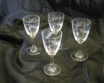 Mid-Century Sasaki etched crystal glasses