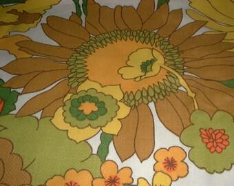 Vintage Large Flower Print Fabric