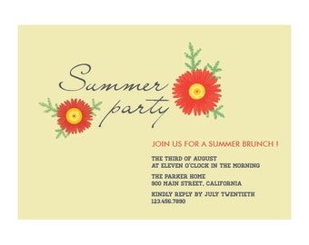 Summer Flowers - Summer Garden  Party Invitation