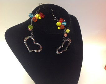 Heart chain earrings