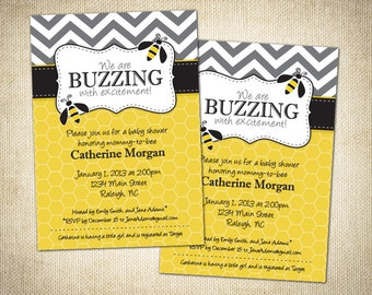 Bumble Bee Themed Baby Shower or Birthday Invitation - Printable Design