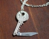 Key Shaped Pocket Knife Necklace