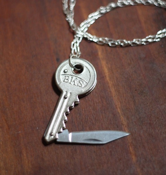 Key Shaped Pocket Knife Necklace