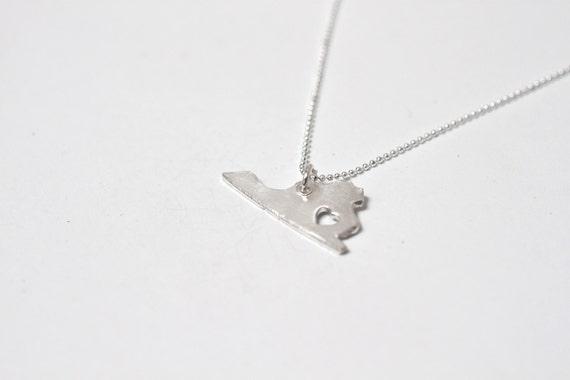i heart Virginia Necklace - Silver - Virginia State Necklace VA State Charm Personalized Necklace With Heart