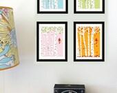 Mini Art Print Set - Cardinal Seasons Prints - 8.5x11 Size - All 4 Seasons Cardinal Offset Digital Art Prints