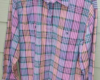 Vintage 80s Lee Jeans Pastel Plaid Long Sleeve Womens Button Front Shirt Size Medium