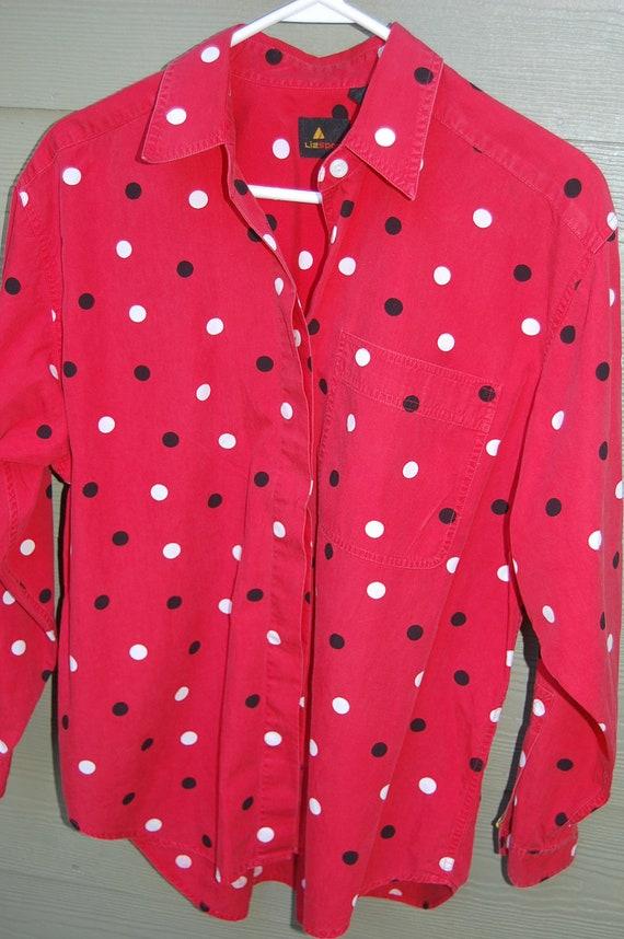 Liz Claiborne Black Polka Dot Blouse 22