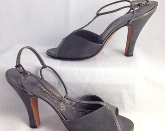1940s charcoal gray pumps by DeLiso Debs 7.5 US