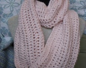 Pink Infinity Cowl, Pale Peony Crochet Neck Warmer Mobius Endless Circle Scarf