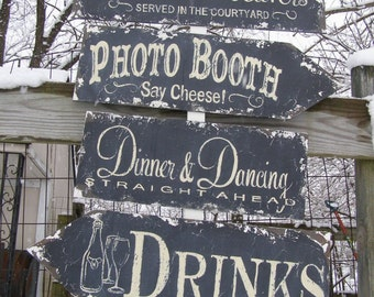 Wedding Signs Package. Vintage Signs. Shabby Chic Wedding. Photo Booth Sign. Wedding Ceremony Sign. Receptions Signs. Aisle Signs.