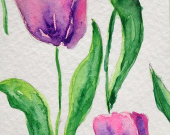 Original Watercolor Painting Pink Spring Tulip abstract floral ACEO Fine Art