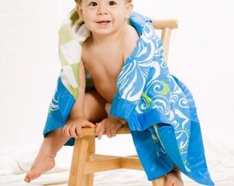 YOU design it LARGE 30 X 36 Happy Honu Maui Hawaiian baby Blankie with a designer sage harlequin  minky back Made with aloha on Maui
