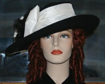 Ascot Hat Kentucky Derby Hat Wide Brim Tea Hat Titanic Hat Somewhere in Time Hat Downton Abbey Hat Edwardian Black and White - Lady Olivia