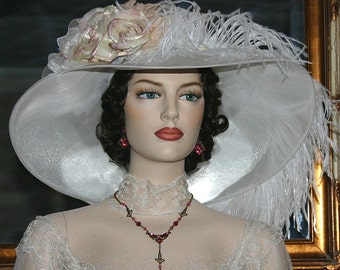 Kentucky Derby Hat Edwardian Titanic Tea Hat - Run for the Roses