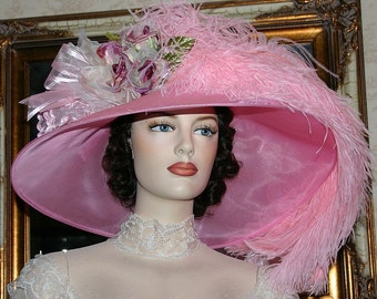 Kentucky Derby Hat Edwardian Hat Ascot Hat - Run for the Roses