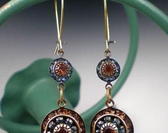 Blue & Brown Rhinestone Earrings Montana Blue Dark Topaz Rhinestone Drop Earrings