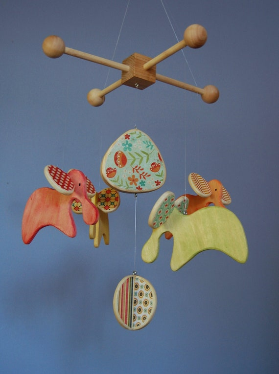 Baby Mobile Elephants - Colorful - Mobile for a Modern Nursery or Play Room