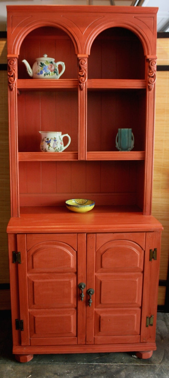 Country French Farmhouse Vintage Red Hutch Display Shelf With
