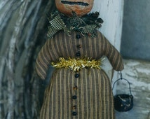 Primitive Halloween Pattern EPattern PDF Pumpkin JOL Witch Paperclay Paper Mache Doll Ornament Folk Art Folkart Hickety Pickety AS50