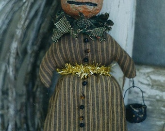 Primitive Halloween Pattern EPattern PDF Pumpkin JOL Witch Paperclay Paper Mache Doll Ornament Folk Art Folkart Hickety Pickety AS50