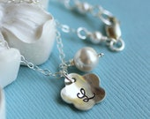 Flower Girl Necklace, Flower Girl Gift, Custom Birthstone Crystal and Initial Necklace, Flower Charm, Pearl, Monogram, Sterling Silver