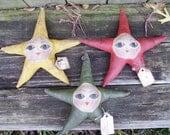 Star Ornaments Set of Three Primitive Folk Art