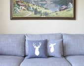 Stag and Doe Silhouette Decorative Pillow Set